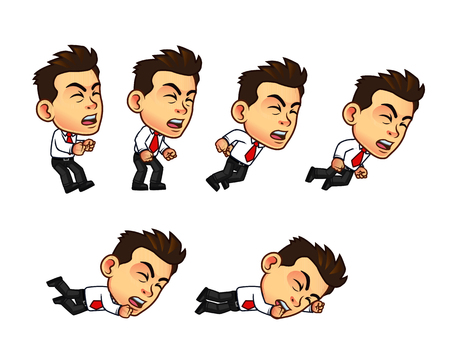 Vector Illustration of Businessman Cartoon Character Animation Sequence