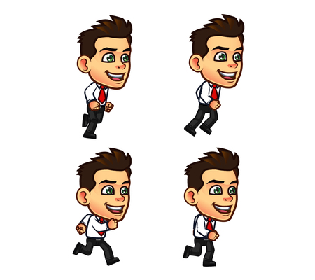 running: Vector Illustration of Businessman Cartoon Character Animation Sequence