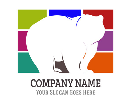 national parks: Bear Silhouette Logo Icon Template Illustration