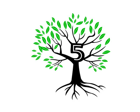 5th: 5th Anniversary Tree Logo Icon Template