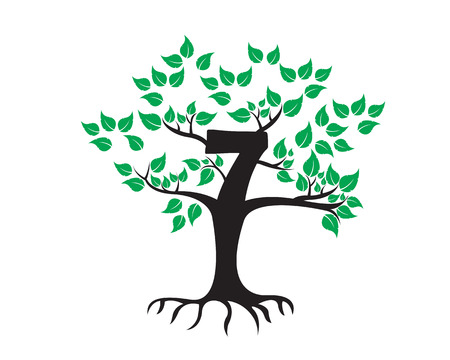 tree logo: 7th Anniversary Tree Logo Icon Template