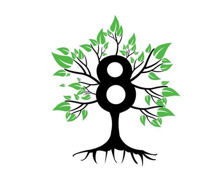 tree logo: 8th Anniversary Tree Logo Icon Template Illustration