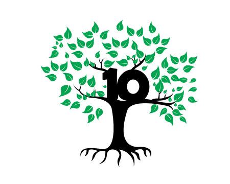 anniversaire: 10ème anniversaire Arbre Logo Icône Modèle Illustration