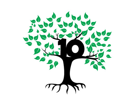 10th: 10th Anniversary Tree Logo Icon Template