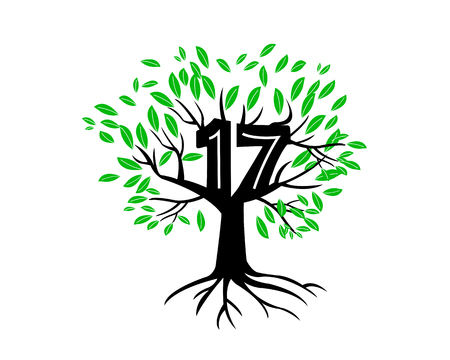 17th: 17th Anniversary Tree Logo Icon Template Illustration
