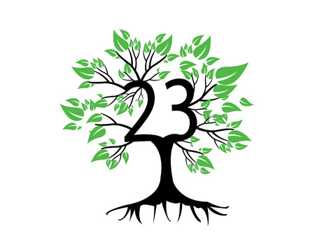 tree logo: 23rd  Anniversary Tree Logo Icon Template Illustration