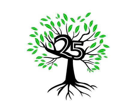 tree logo: 25th Anniversary Tree Logo Icon Template
