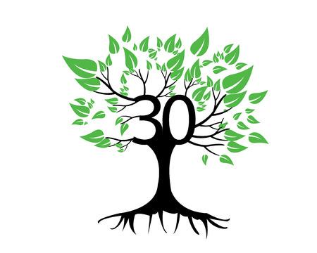 anniversaire: 30ème anniversaire Arbre Logo Icône Modèle Illustration