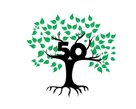 50th Anniversary Tree Logo Icon Template Çizim