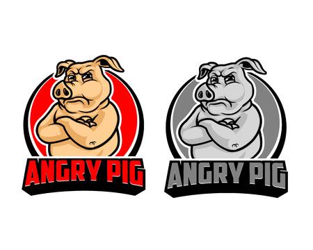 Enojado icono de dibujos animados de cerdo