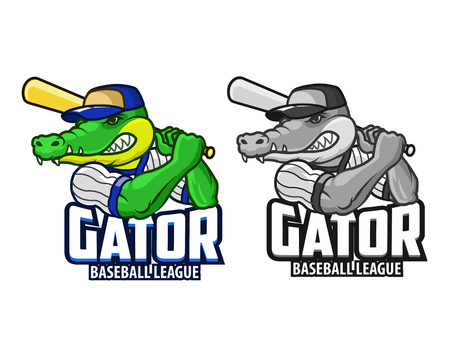 Baseball Gator Cartoon Mascot