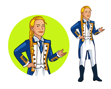 admiral: Female Royal Navy Officer Cartoon Illustration