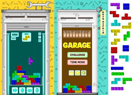 A garage tetris matching game kit vector illustration. Illustration