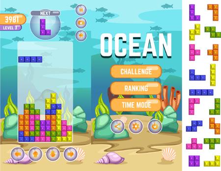 An ocean tetris matching game kit vector illustration. Illustration