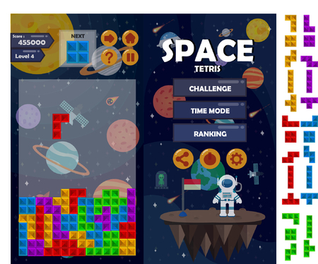 Space tetris matching game kit vector illustration. Illustration