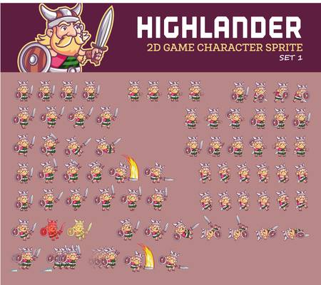 Highlander Cartoon Game Character Sprite Illustration