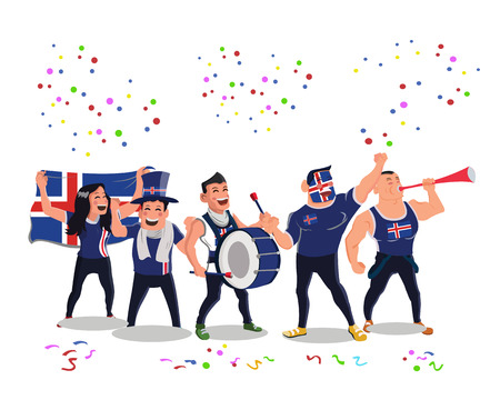 Cheerful Iceland National Football Team Supporters Crowd Having Celebrations Illustration