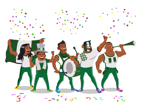 Cheerful Nigeria Football National Team Supporters Crowd Making Noise Having Celebration