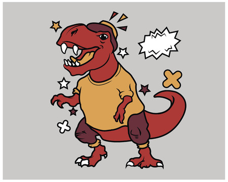 Hipster T Rex Cartoon T Shirt Illustration
