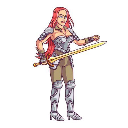 Vector Illustration of Fantasy World Female Warrior Knight