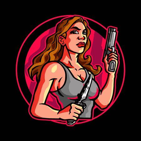 Female Assassin Secret Agent with Guns in Both Hands Vetores