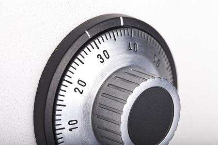 combination safe: combination lock on the safe closeup gray Stock Photo