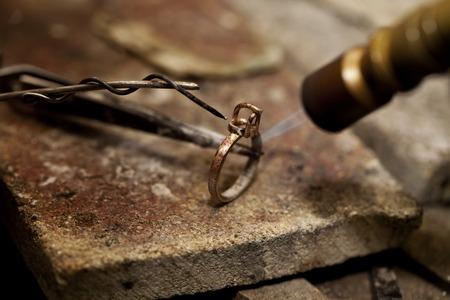 jeweler solder ring close-up background