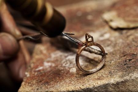 solder: jeweler solder ring close-up background