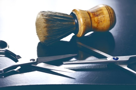 barber background: a barber tool close up