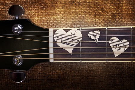 guitar and musical heart background wallpaper photo