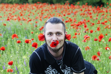 funny guy: a funny guy and fields of poppies