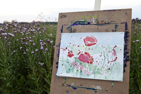 palitra: a easel picture poppies watercolor abstraction