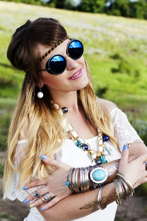 jewelry: a Beautiful hippie girl outdoors