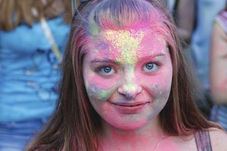 multiple ethnicity: Zaporozhye, Ukraine July 25, 2015 : Festival of colors Holi in city park Editorial