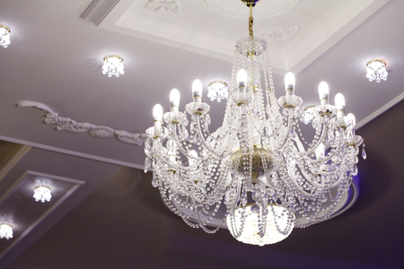 diamond candle: a Beautiful large chandelier made of crystal Stock Photo