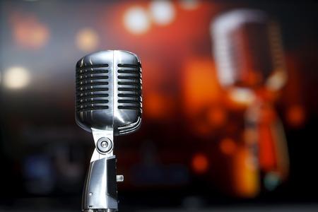 transducer: chrome retro microphone close-up, karaoke, background music Stock Photo