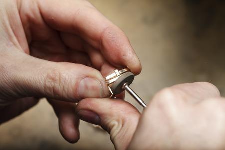 a handmade jeweler process, manufacture of jewelery Stock Photo