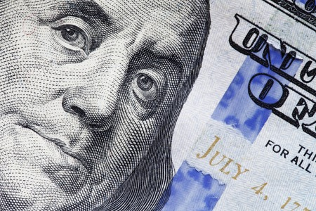 macro photo of the new 100 dollar bill, a new anti-counterfeiting