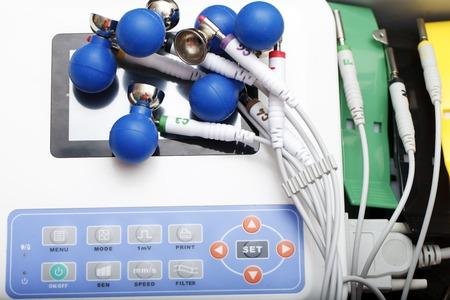 electrocardiograph: medical equipment ECG closeup heart disease examination