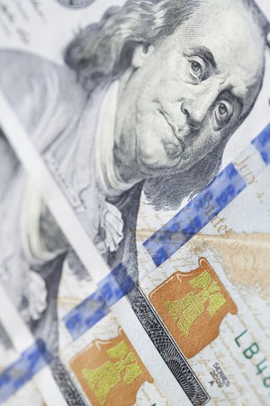 ben franklin money: new 100, the new hundred-dollar bill close-up, the protection system