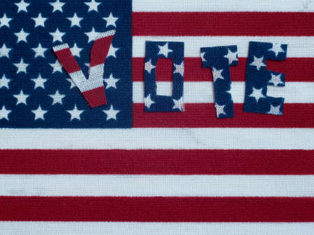 Electoral vote close-up. USA political elections. USA flag background