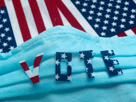 Vote background. Elections in the United States. Coronavirus epidemic. Protective mask