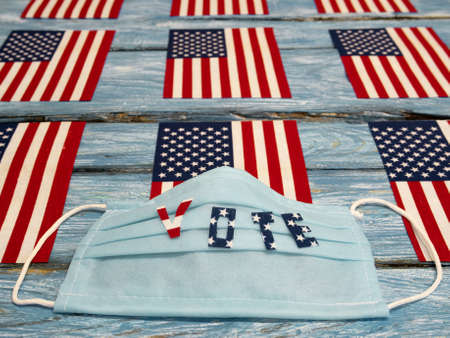 Vote.USA flag. US elections and the coronavirus epidemic