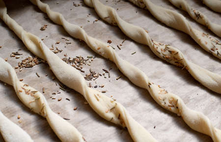 Italian cuisine.Traditional italian grissini bread sticks with sesame seeds