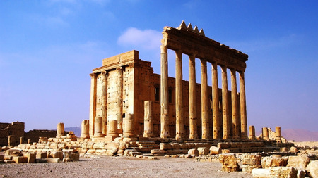 Destroyed temple of Baal in Palmyra, Syria.