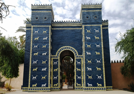 Copy of Ishtar gates in Babylon ruins, Iraq