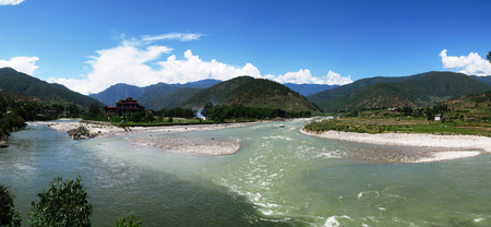 confluence: Punakha Dzong, the old capital of Bhutan, at the confluence of Pho Chu and Mo Chu rivers