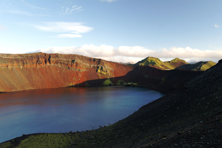 dreadful: Lljotipollur or dreadful hole, crater lake in Landmannalaugar valley, Iceland