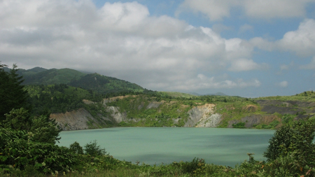 sakhalin: Flooded coal mine and artificial lake in Sakhalin island, Russia