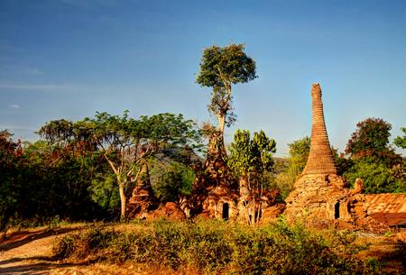 stupas: Ruined buddhist stupas in Inn Dein, Myanmar